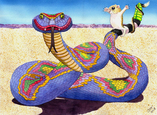 Painting - Wrangled Razzle Dazzle Rainbow Rattler by Catherine G McElroy
