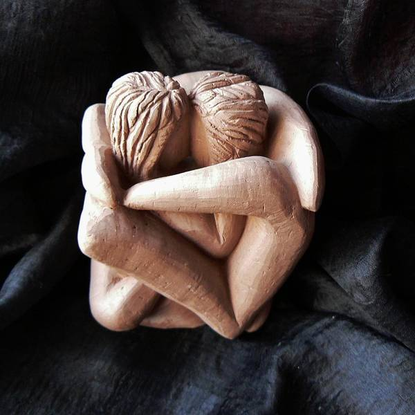 Sculpture - Wrapped Up In Each Other by Barbara St Jean