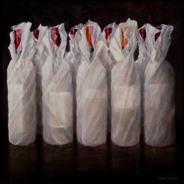 White Wine Wall Art - Painting - Wrapped Wine Bottles by Lincoln Seligman
