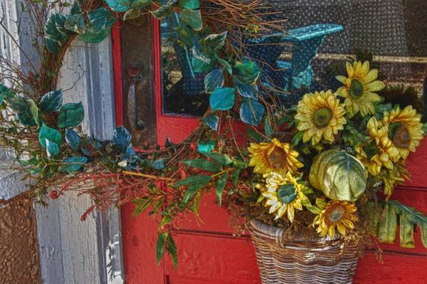 Wall Art - Digital Art - Wreath And The Red Door by Michael Thomas
