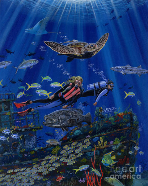 Wall Art - Painting - Wreck Divers Re0014 by Carey Chen
