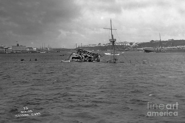 Photograph - Wreck Of The U. S. S. Maine Havana Harbor Cuba 1898  by California Views Archives Mr Pat Hathaway Archives