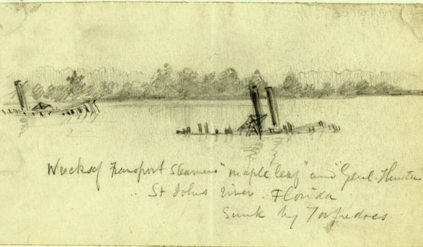Maple Drawing - Wreck Of Transport Steamers Maple Leaf And Genl by Quint Lox