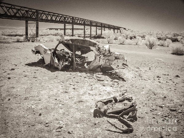 Wall Art - Photograph - Wrecked Car In Riverbed Algebuckina Australia by Colin and Linda McKie