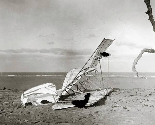Black Kite Photograph - Wrecked Wright Brothers Glider by Library Of Congress