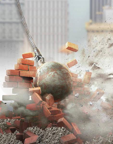 Wall Art - Photograph - Wrecking Ball Hitting An Demolishing by Ikon Ikon Images