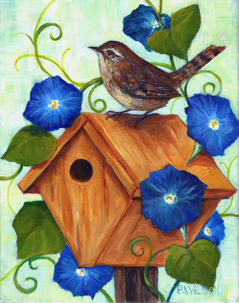 Morning Song Wall Art - Painting - Wren And Morning Glories  by Peggy Wilson