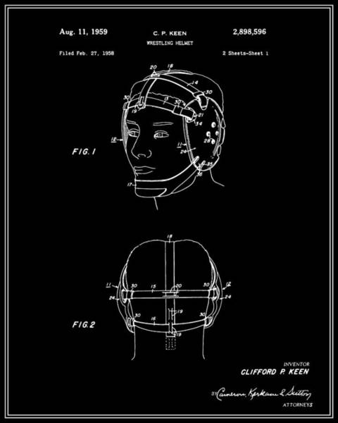 Amateur Digital Art - Wrestling Helmet Patent - Black by Finlay McNevin