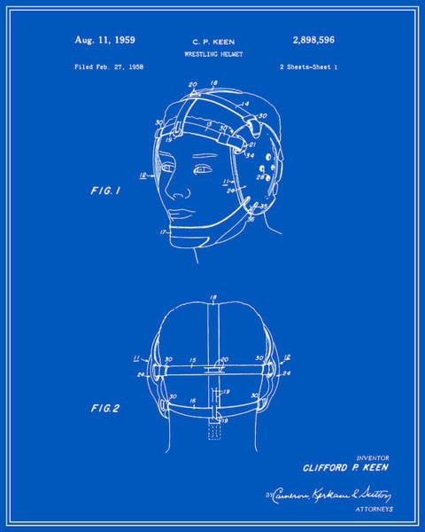 Amateur Digital Art - Wrestling Helmet Patent - Blueprint by Finlay McNevin