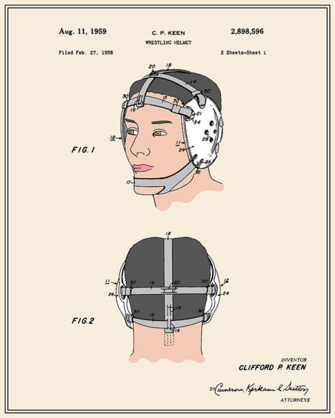 Amateur Digital Art - Wrestling Helmet Patent - Colour by Finlay McNevin