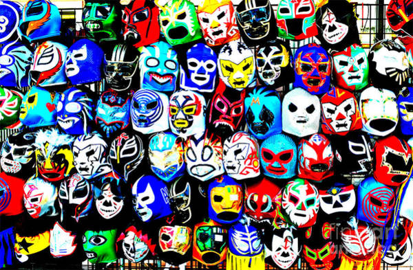 Wall Art - Photograph - Wrestling Masks Of Lucha Libre Altered by Jim Fitzpatrick