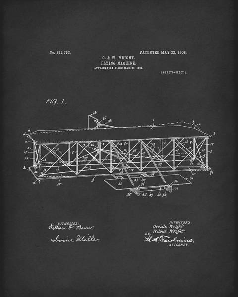 Drawing - Wright Brothers Flying Machine 1906 Patent Art Black by Prior Art Design