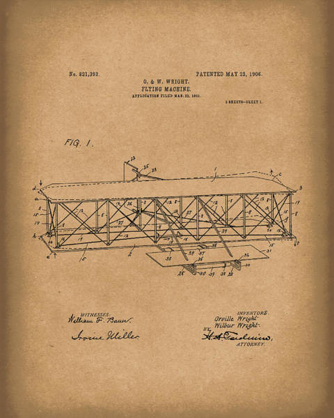 Drawing - Wright Brothers Flying Machine 1906 Patent Art Brown by Prior Art Design