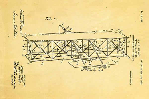 Wall Art - Photograph - Wright Brothers Flying Machine Patent Art 1906 by Ian Monk