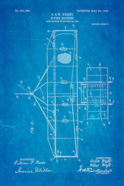 Pilot Photograph - Wright Brothers Flying Machine Patent Art 2 1906 Blueprint by Ian Monk