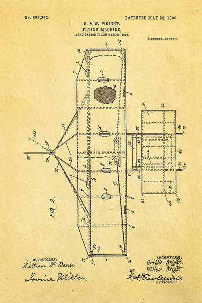 Inventor Photograph - Wright Brothers Flying Machine Patent Art 2 1906 by Ian Monk