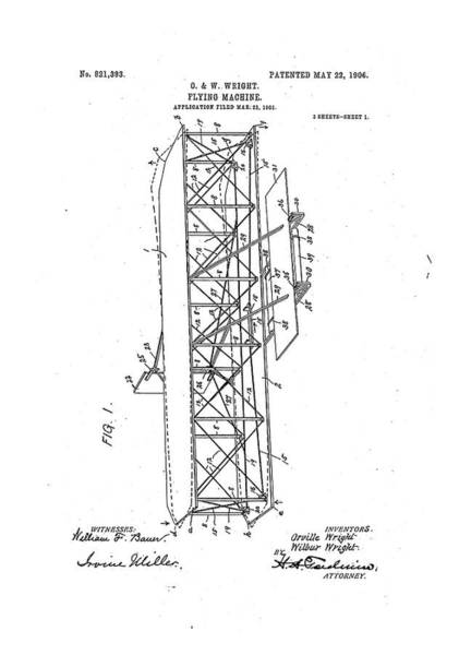 Bauer Photograph - Wright Flyer Patent by Us National Archives