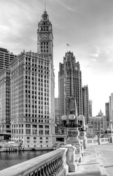 Monochrome Photograph - Wrigley And Tribune by Scott Norris