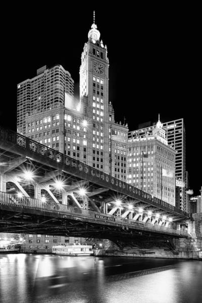 Photograph - Wrigley Building At Night In Black And White by Sebastian Musial