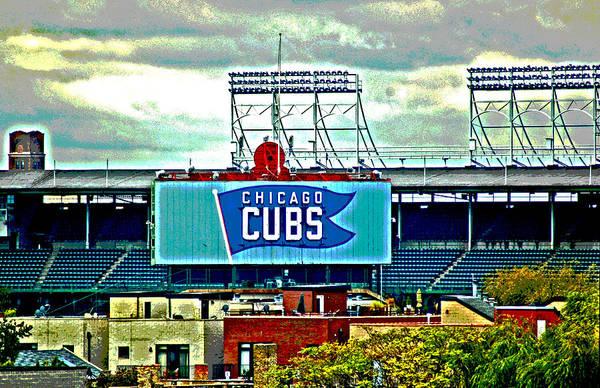 Digital Art - Wrigley Field Chicago Cubs by Ginger Wakem