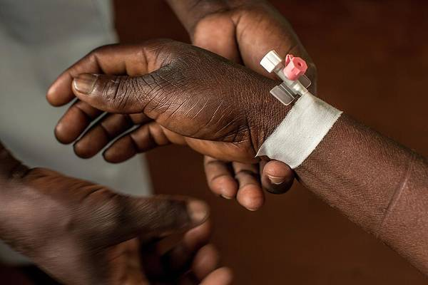 Developing Country Photograph - Wrist Catheter Taping by Mauro Fermariello/science Photo Library