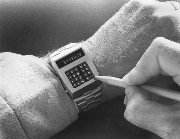 Hands Of Time Photograph - Wristwatch Calculator by Underwood Archives