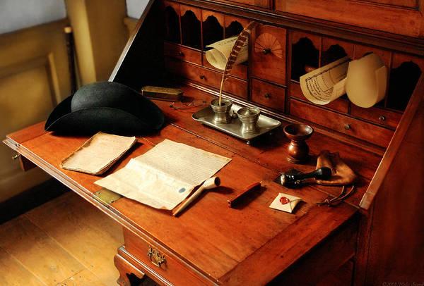 Photograph - Writer - The Desk Of A Gentleman  by Mike Savad