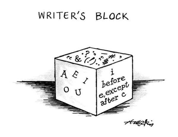 Writers Drawing - Writer's Block by Henry Martin