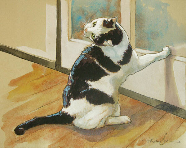Calico Cat Painting - Wrong Side Of The Door by Tracie Thompson