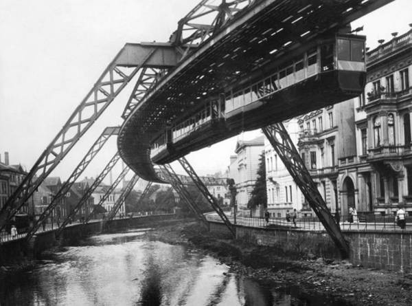 Thoroughfare Photograph - Wuppertal Suspension Railway by Underwood Archives