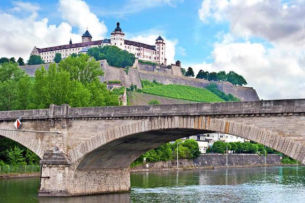 Bridge Bank Photograph - Wurzburg, Bavaria, Germany, Marienberg by Miva Stock