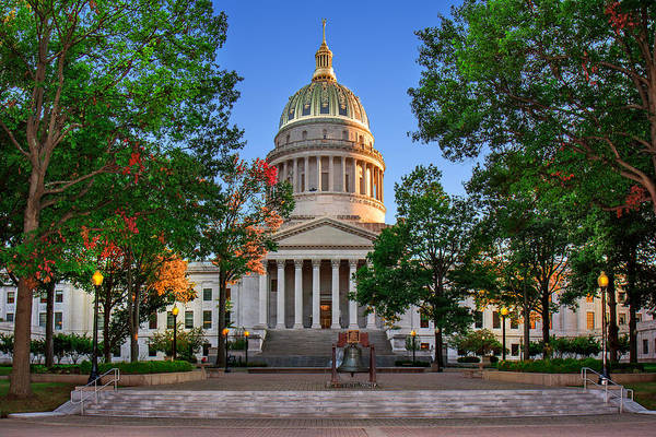 Photograph - Wv Capitol As Dusk by Mary Almond