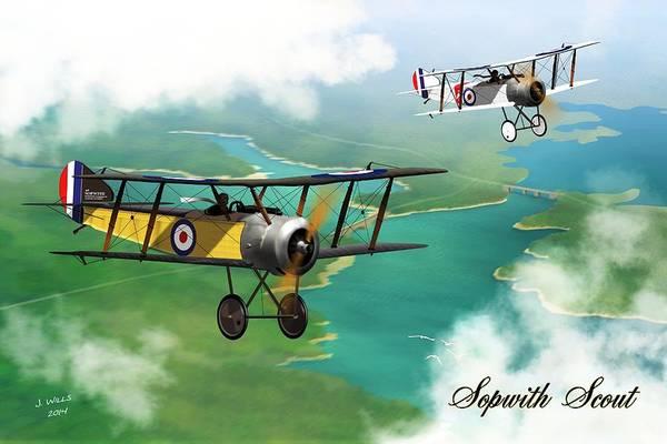 Ww1 Digital Art - Ww1 British Sopwith Scout by John Wills