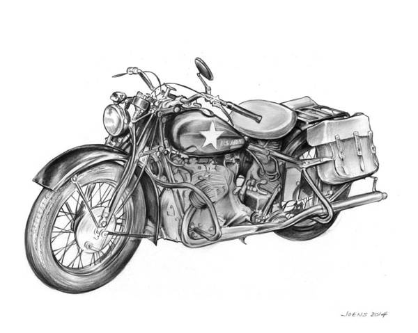 United States Drawing - Ww2 Military Motorcycle by Greg Joens