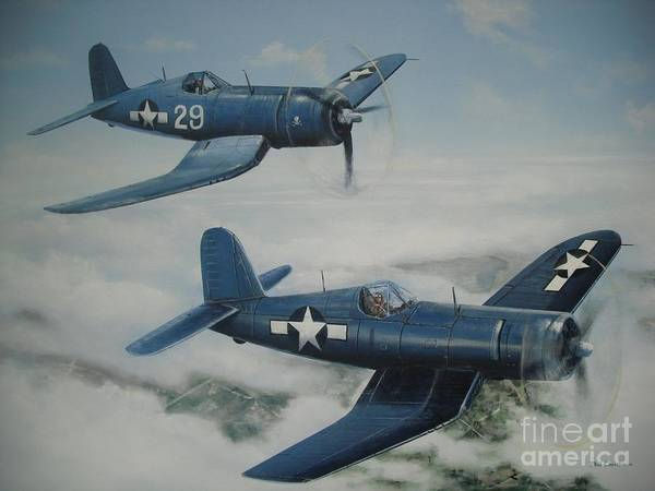 Corsair Painting - Wwii Corsair Planes by Phil Christman