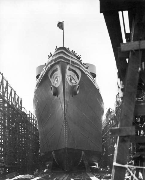 Dry Dock Photograph - Wwii Maritime Ship Nose Art by Underwood Archives