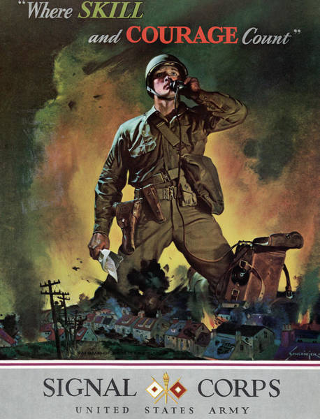 Recruitment Painting - Wwii Signal Corps, 1942 by Granger