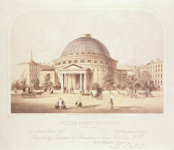 Greek Revival Architecture Photograph - Wylds Monster Globe, C.1851 Litho by English School