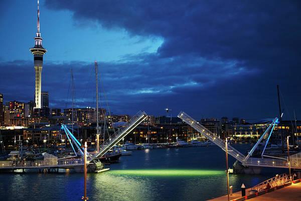 Auckland Photograph - Wynyard Crossing Bridge, And Skytower by David Wall