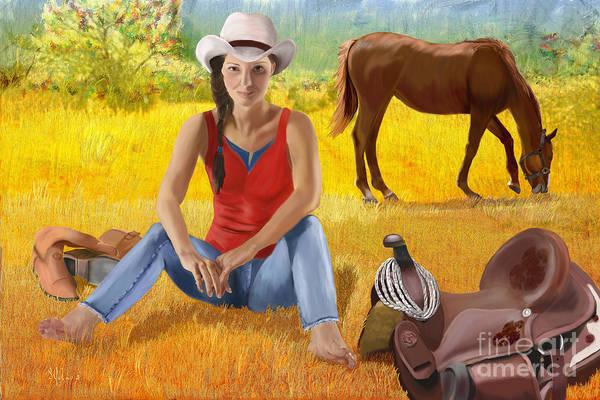 Horsemanship Painting - Wyoming Girl by Sydne Archambault