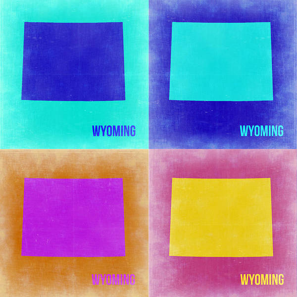 Wall Art - Painting - Wyoming Pop Art Map 2 by Naxart Studio