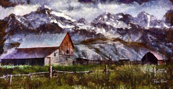 Barn Snow Painting - Wyoming Tetons by Russ Harris