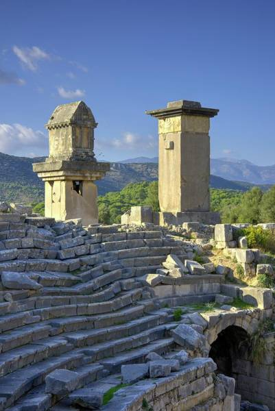 World Heritage Site Photograph - Xanthos Tombs And Amphitheatre by David Parker