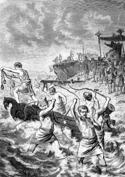 Engraving Photograph - Xerxes Whipping The Sea by Bildagentur-online/tschanz