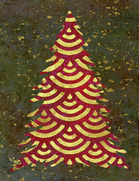 Christmas Tree Painting - Xmas Tree Garland by Cora Niele