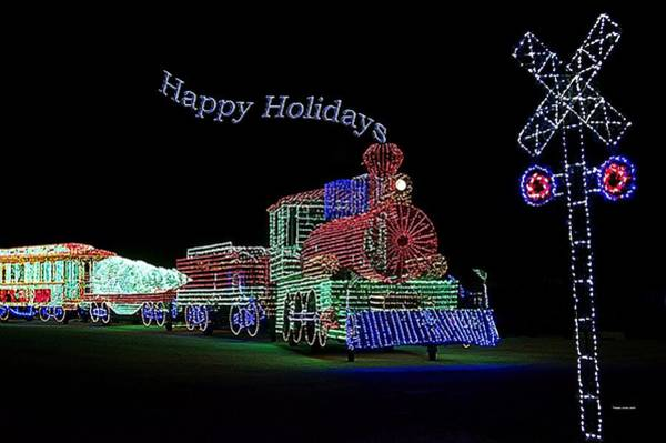 Wall Art - Photograph - Xmas Tree Train Happy Holidays by Thomas Woolworth