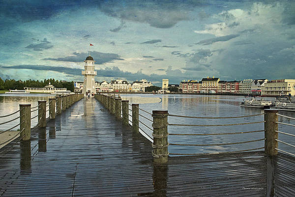 Wall Art - Photograph - Yacht And Beach Lighthouse Disney World Textured Sky by Thomas Woolworth