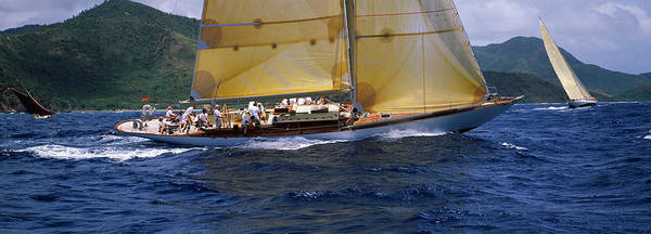 Racing Yacht Photograph - Yacht Racing In The Sea, Antigua by Panoramic Images