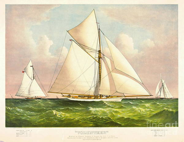 Racing Yacht Photograph - Yacht Volunteer 1887 by Padre Art