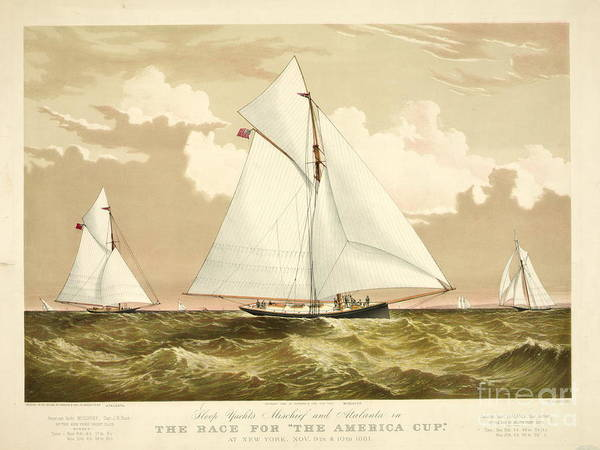 Racing Yacht Photograph - Yachts Mischief And Atalanta 1882 by Padre Art
